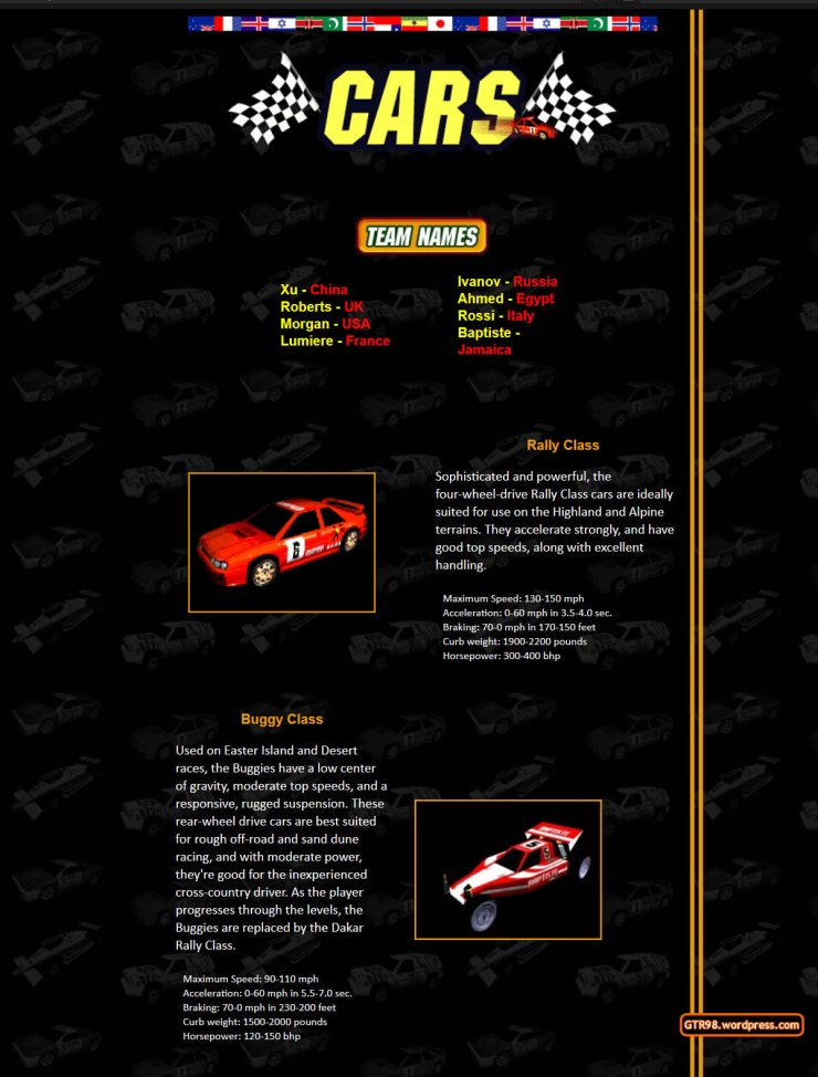 GTR98 Official Site 1997 - Car Classes 1