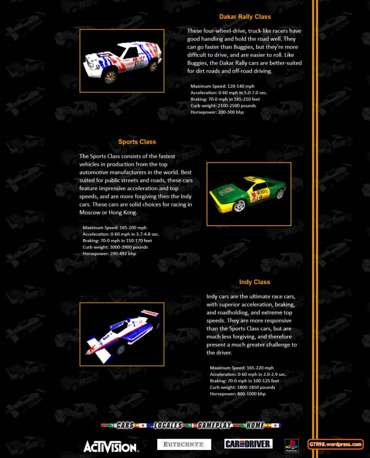 GTR98 Official Site 1997 - Car Classes 2