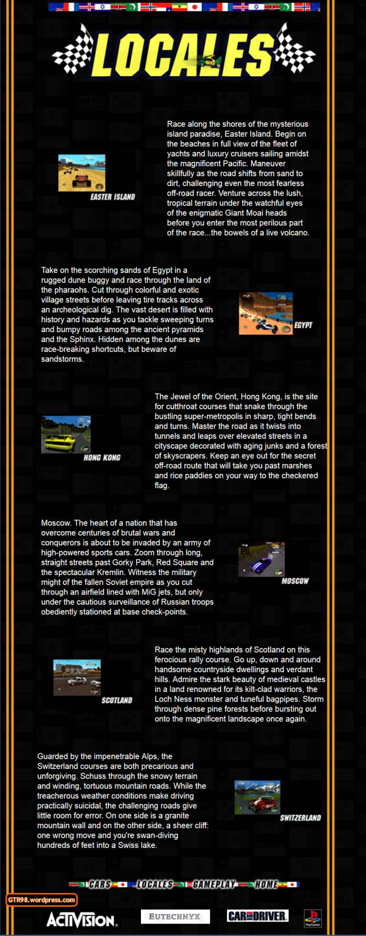 GTR98 Official Site 1997 - Locales
